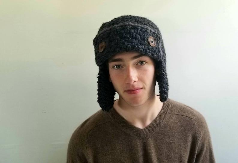 Aviator Hat in Charcoal Gray. Chunky. Handknit. Mens. Women. Teens.