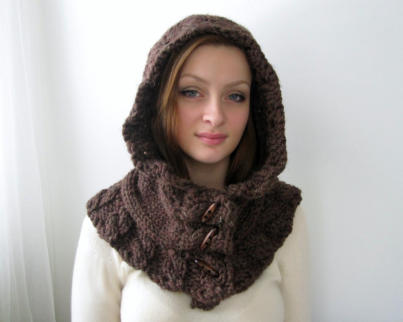 1692e501c49 Brown Hoodie. Chunky Handknit. Hooded Scarf. Cozy. Cabled. Unisex. Forest  Brown and Custom Colors.