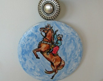 Western Spirit Horse and Cowgirl Hand Painted Pendant Multi Strand Necklace Kingman and Carico Lake Turquoise 18.5 inch length