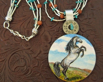 Horse Pendant Silver Rearing Horse Art Turquoise and Goldstone, Silver Heishi, Southwest Cowgirl or Southwest Horse