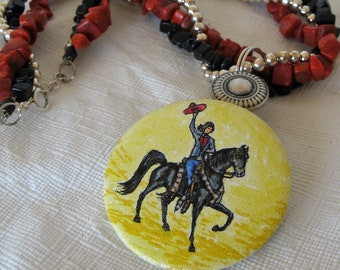 """Western Cowgirl and  Horse Original Art Multi Strand Necklace Vintage Style Hand Painted 19"""" length Red Coral, Blackstone and Silver"""
