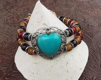Southwest Western Bracelet Fits Larger Wrist Faux Turquoise Heart Glass Crow Beads Plus Size Friendly