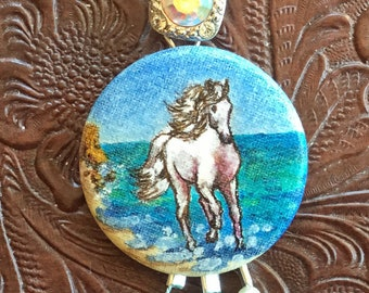 Horse on the Beach by Ocean Hand Painted Pendant Gala Crystal Czech Beads Faux Pearls Original Art Galloping on the Beach White Horse