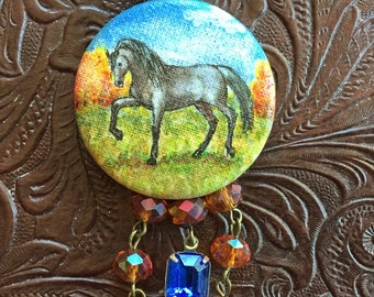 Arabian Horse Hand Painted Pendant Necklace Gray Prancing Horse with Fall Trees Original Horse Art Czech Glass Beads Tassel Gala Crystal