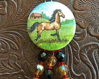 Galloping Horse Hand Painted Horse Art Pendant Czech Glass Beads Original Painting Bay Horse with Red Barn Necklace