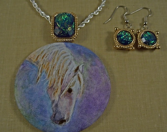White Horse Original Art Necklace Earring Set Purple Green Hand Painted Pendant Faux Opal in Gold Trim