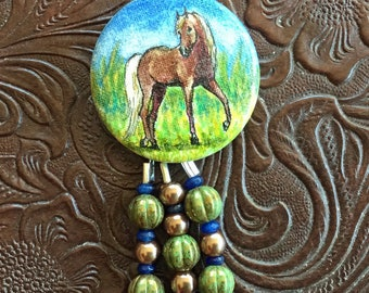 Horse Painting Pendant Brown Horse Hand Painted with Gala Crystal and Czech Glass Bead Tassel Original Horse Art Necklace 18 inch chain