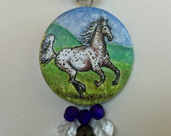 Agile Appaloosa Horse Hand Painted Pendant Czech Glass Beads Horse Art Jewelry Leopard Appaloosa Black and White 18 inch length Necklace