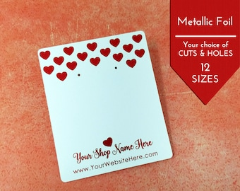 Metallic Red Valentine's Hearts Custom Earring Display Cards | Custom Packaging Necklace Cards | DS0154