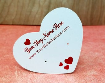 Metallic Red Valentine's Heart Earring Display Cards | Custom Packaging Necklace Cards | DS0154