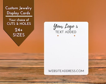 Custom Earring Cards | 24 SIZES |  Jewelry Display Your Logo Personalized | Packaging | Tags | Label | Display | Necklace | DS2000