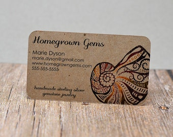 recycled business cards kraft brown fossil shell ocean rounded corners ammonite - Recycled Business Cards