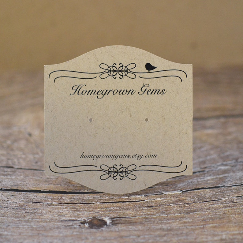 Personalized Product Display Branding Vintage Ornate Bird Design Custom Earring Cards Curved Top Bottom Design
