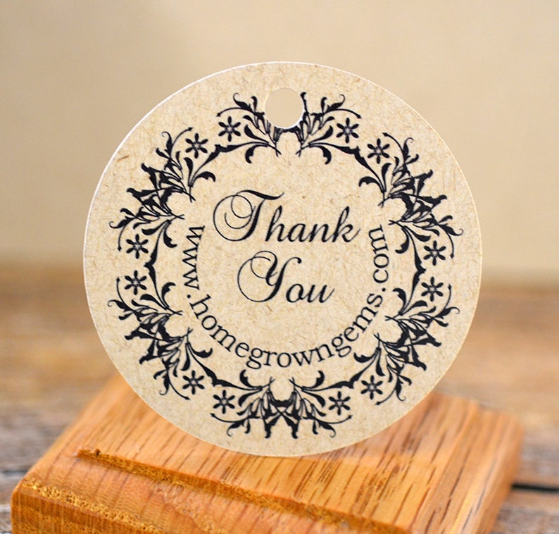 Ornate Floral Wreath Thank you Gift Tags Party Favors Wedding Party