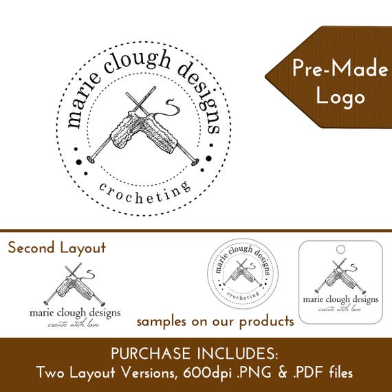Custom Logo Crocheting Yarn Hooks Crafter | Customize Personalize for Hang Tags Display Cards Packaging Branding | DS0155