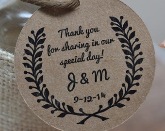 Custom Wedding Favor Thank You Tags Wheat Wreath Gift Tags Hang Tags DS045