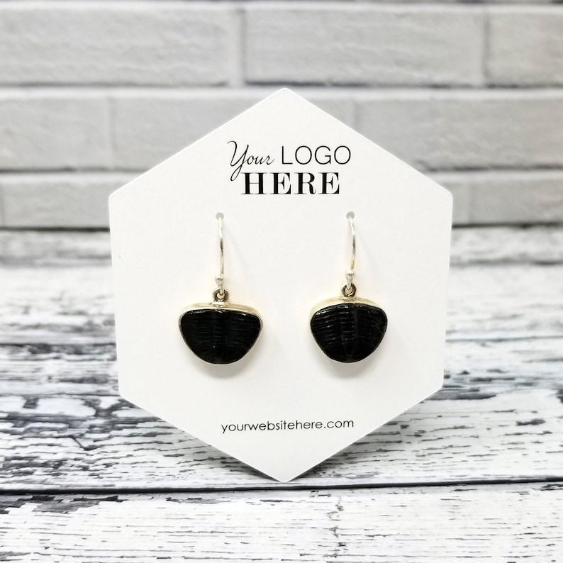 Includes Your Logo 20 SIZES Hexagon Shape Earring Necklace Cards Jewelry Display Packaging SP2022