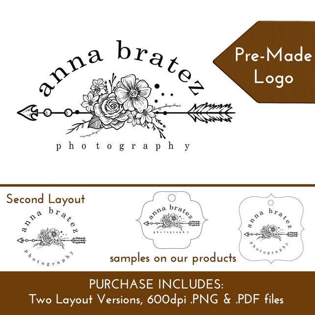 Custom Logo Boho Arrow Flowers Black White | Customize Personalize for Hang Tags Display Cards Packaging Branding | DS0155
