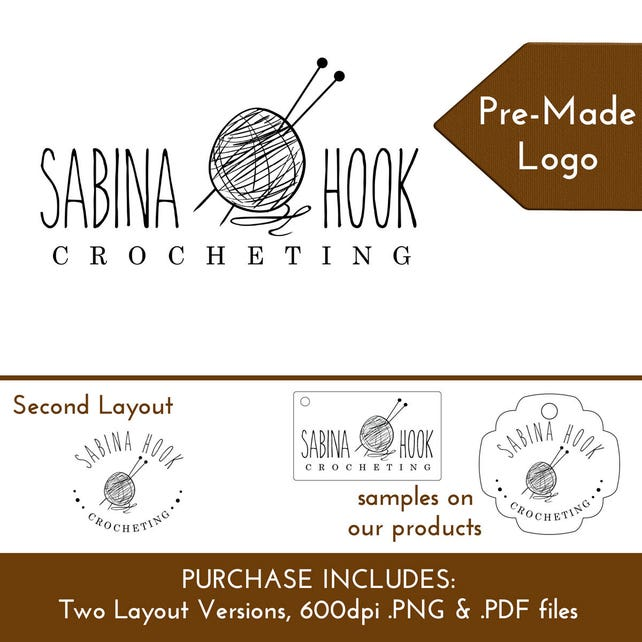 Custom Logo Crocheting Yarn Ball Crafter | Customize Personalize for Hang Tags Display Cards Packaging Branding | DS0155