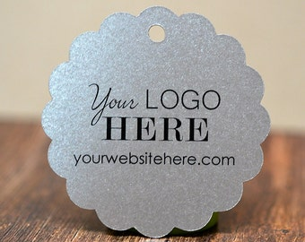 """60 tags - 2"""" - Customized Scalloped Circle Hang Tags Price Labels with your Logo"""