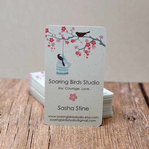 Modern business cards cherry blossom bird tree mommy calling etsy image 0 colourmoves