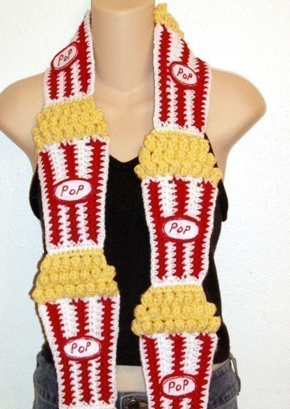 Diy Food Art Crochet Pattern 4 Buttered Popcorn Scarf
