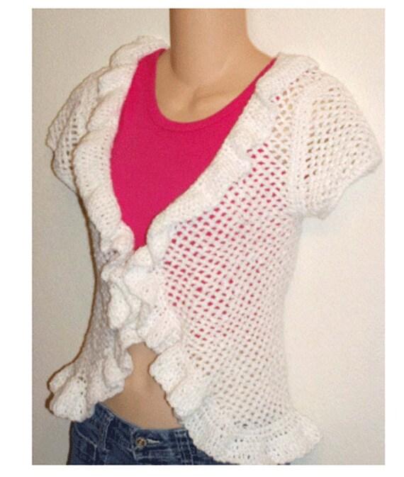 Ruffle Cap Sleeve Cardigan Shrug Crochet Pattern Pdf Etsy