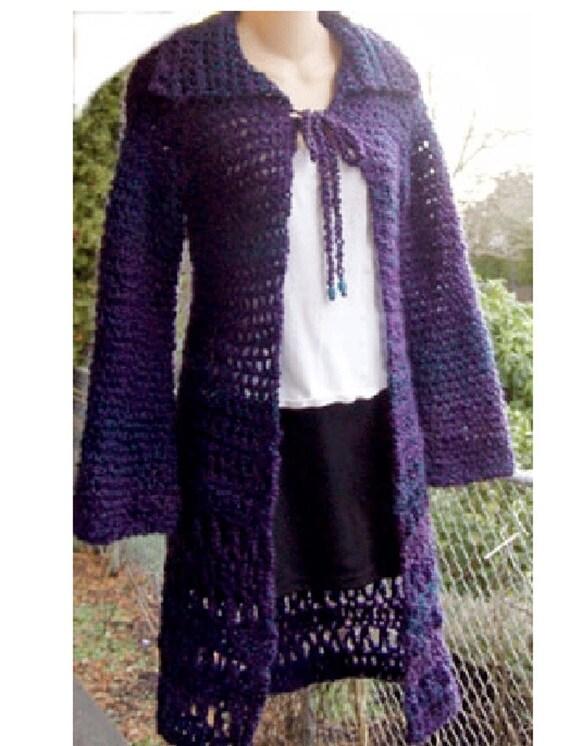 Long Cardigan Sweater Homespun Yarn Crochet Pattern Pdf Etsy