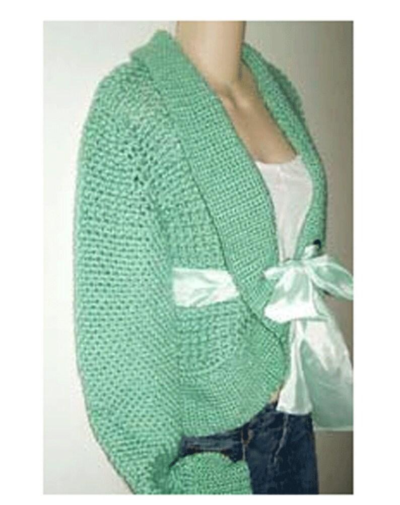 Satin Tie Long Sleeve Cardigan Shrug Crochet Sweater Pattern pdf