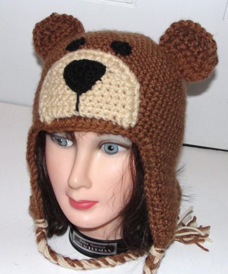 9f8ce4dc994 Teddy Bear Earflap Hat w  Ties Adult Child Toddler Crochet