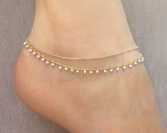 Gold Double Beaded Chain Anklet / Summer Boho Ankle Bracelet / Colorful Gold Delicate Bohemian Foot Ankle Jewelry