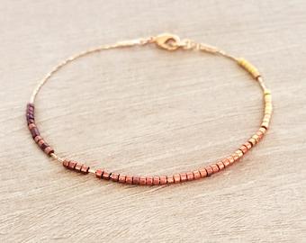 Dainty Ombre Bracelet / Gold or Rose Gold Minimalist Beaded Thin Bracelet / Delicate & Elegant Holiday Gift for Her, Feminine Bracelet