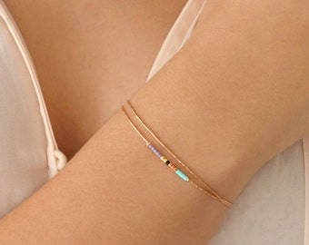 Delicate Rose Gold Bracelet with Small Beads / Dainty Beaded Multicolor Gift Bracelet / Thin Colorful Bridesmaid Friendship Bracelet