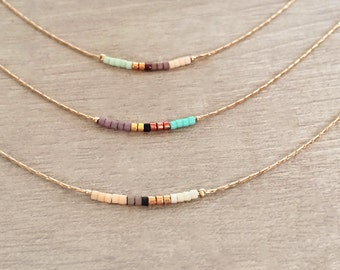 Rose Gold Dainty Beaded Necklace / Boho Delicate Minimalist Jewelry Short Layering Necklace / Colorful Simple Minimal Bridal Gift