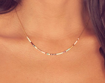 Extra Thin Beaded Multicolor Necklace / Minimalist Layering Necklace / Colorful Short Boho Necklace