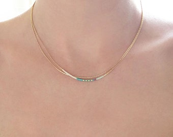 Minimalist Delicate Gold Double Necklace with Tiny Beads / Elegant Thin Layering Boho Necklace / Colorful & Simple Layered Short Necklace