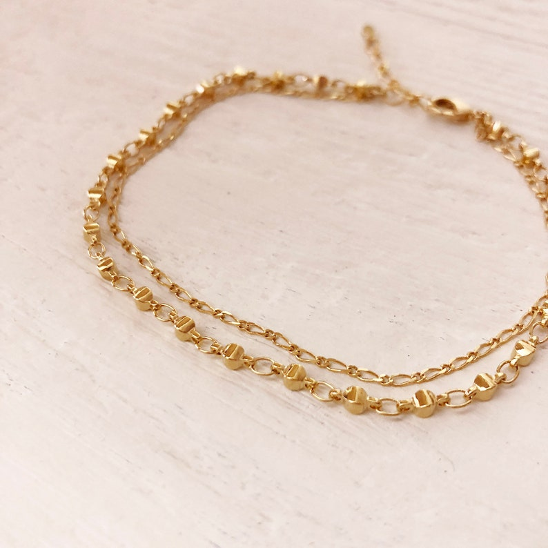 cd76cc67c Gold Double Chain Anklet Dainty Gold Summer Boho Ankle | Etsy