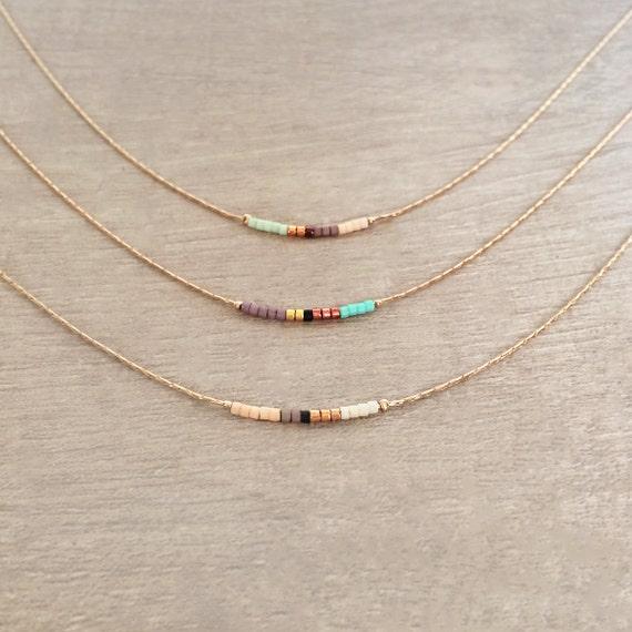 Handmade Rose Gold Minimalist Beaded Necklace  \u2018Austria\u2018