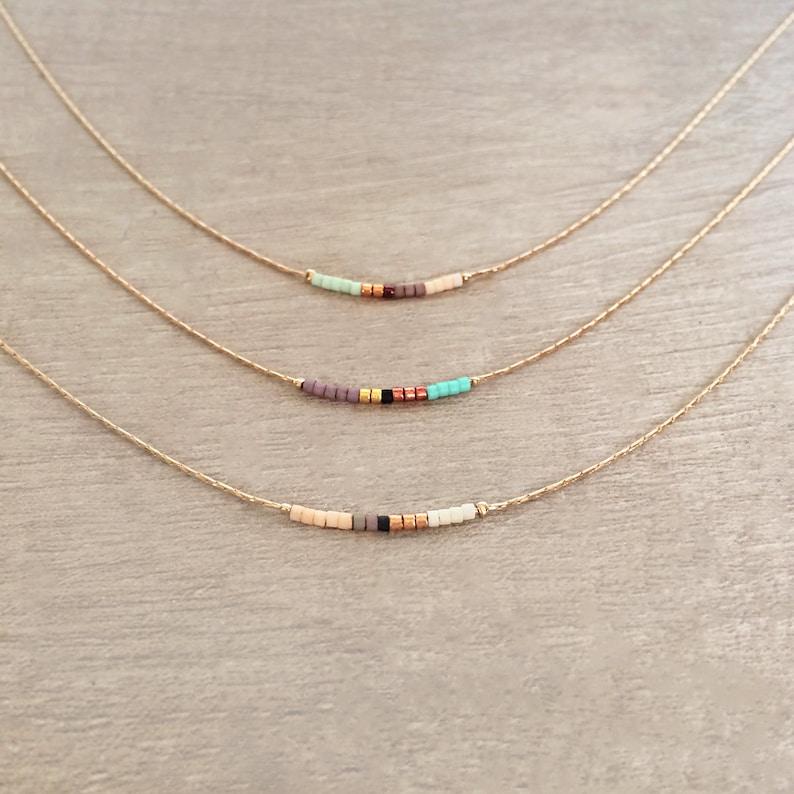 Rose Gold Dainty Beaded Necklace Boho Delicate Minimalist image 0