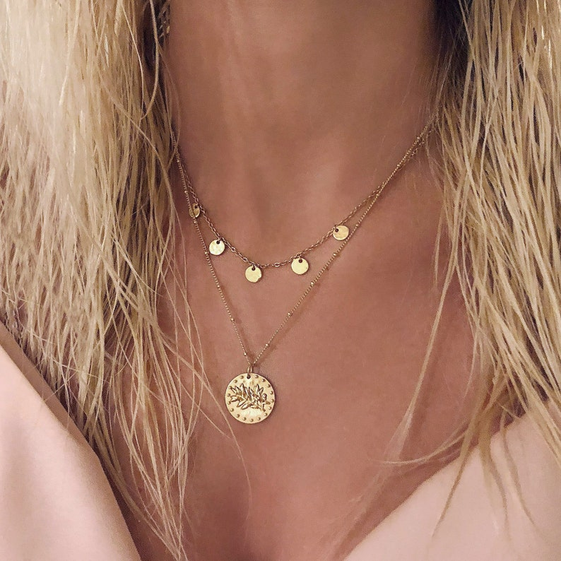 71a81c088 Gold Medal Olive Branch Coin Necklace / Minimalist Boho   Etsy