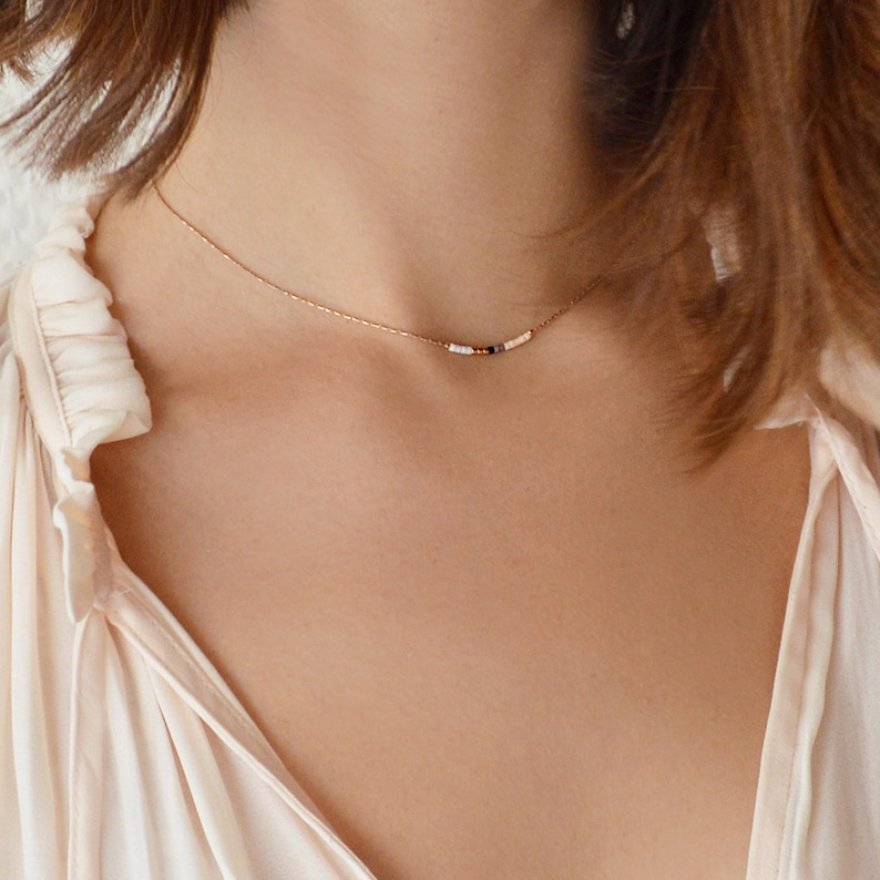 Dainty Rose Gold Beaded Necklace / Delicate & Elegant Peach & White
