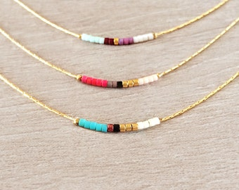 Minimalist Gold Delicate Necklace with Tiny Beads / Dainty Thin Short Layering Necklace / Colorful & Simple Beaded Boho Gift Necklace