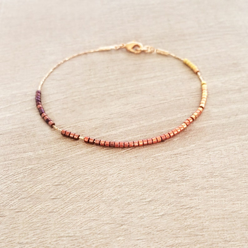 Dainty Ombre Bracelet / Gold or Rose Gold Minimalist Beaded image 1