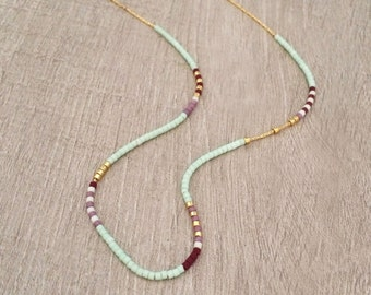 Extra Thin Beaded Multicolor Necklace, Minimalist Layering Gold Necklace, Colorful Short Boho Necklace