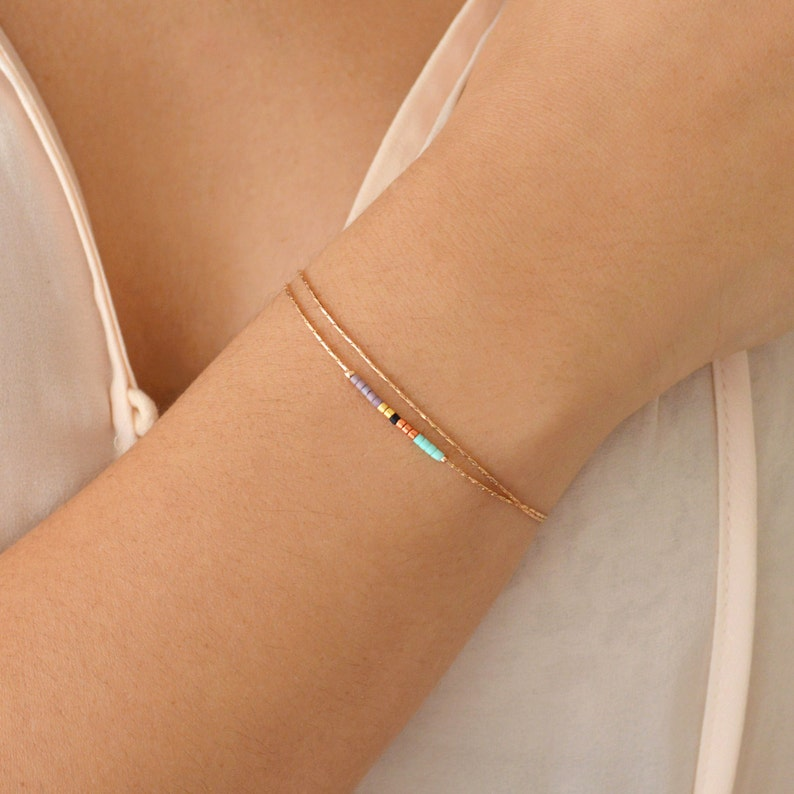 Delicate Rose Gold Bracelet with Small Beads / Dainty Beaded image 0