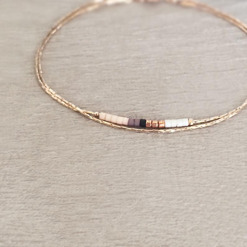 Dainty Rose Gold Bracelet with Small Beads / Boho Classy image 0