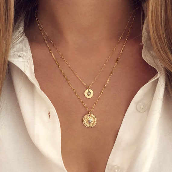 Multicolor CZ Gold Medal Necklace Boho Coin Layering Medallion Necklace Bohemian Engraved Pendant Charm Necklace Gift for Her