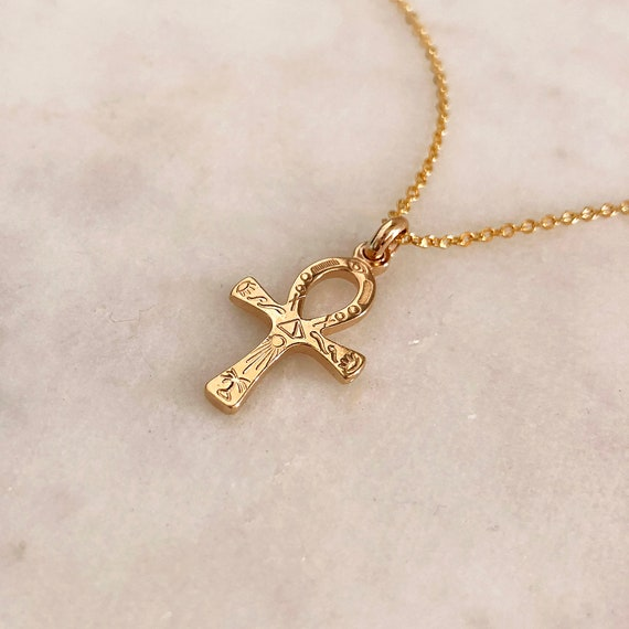 Ankh Cross Gold Egyptian Charm Necklace Engraved Ancient Etsy