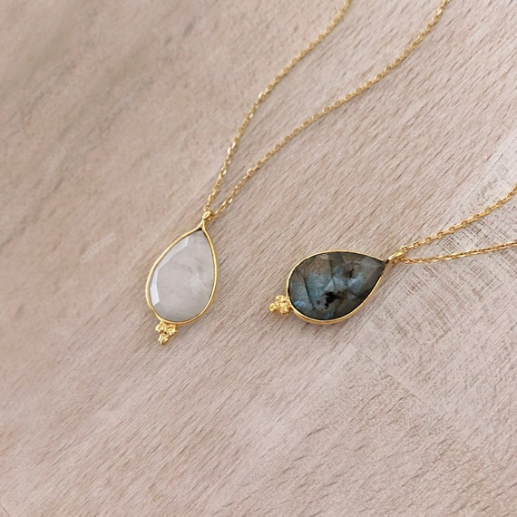 Dainty Mini Gemstone Point Necklace  Minimalist Labradorite Birthstone Layering Necklace  Elegant Moonstone Layered Crystal Gift Necklace