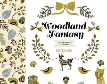 WOODLAND FANTASY Clip Art Set - Personal License - Hand Drawn Digital Graphics - Wreath Border Pattern - Linocut Folk Art Style